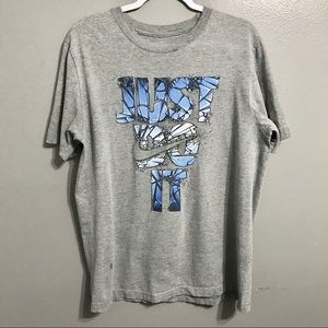 Nike Mens Gray Just Do It Spellout T Shirt L